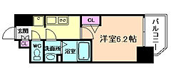 阪急神戸本線 中津駅 徒歩3分の賃貸マンション 7階1Kの間取り