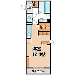 (仮)D-room中央町 2階ワンルームの間取り