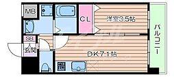 阪急京都本線 正雀駅 徒歩3分の賃貸マンション 6階1DKの間取り