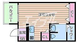Osaka Metro今里筋線 太子橋今市駅 徒歩5分の賃貸アパート 3階ワンルームの間取り
