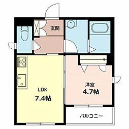 南海高野線 浅香山駅 徒歩9分の賃貸マンション 2階1DKの間取り