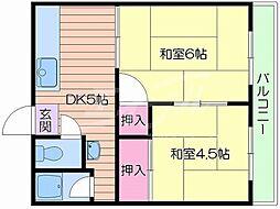 阪急千里線 千里山駅 徒歩11分の賃貸アパート 2階2DKの間取り