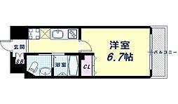 Osaka Metro御堂筋線 西田辺駅 徒歩3分の賃貸マンション 5階1Kの間取り