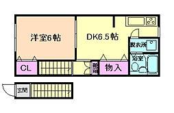 南洋荘[2階]の間取り