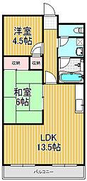 福徳ハイツ[2階]の間取り