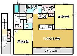 光城ハイツII 2階2LDKの間取り