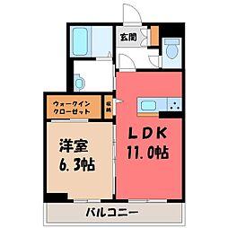 栃木県宇都宮市鶴田町の賃貸マンションの間取り