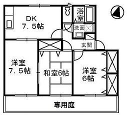 岡山県倉敷市上東の賃貸アパートの間取り