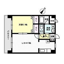 福岡県福岡市博多区那珂4丁目の賃貸マンションの間取り
