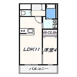 ルミー羽倉崎 2階1LDKの間取り