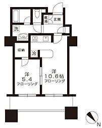 東京ツインパークス レフトウイング 20階1LDKの間取り