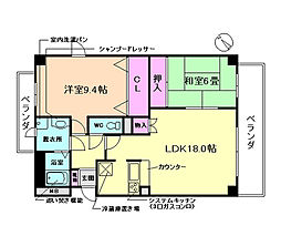 大阪府豊中市中桜塚1丁目の賃貸マンションの間取り