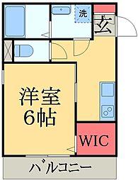 JR総武線 西千葉駅 徒歩12分の賃貸マンション 2階1Kの間取り