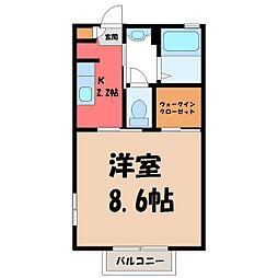 茨城県筑西市下岡崎2丁目の賃貸アパートの間取り