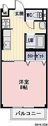 長野県松本市大字岡田下岡田の賃貸アパートの間取り