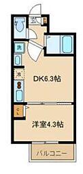 サニーヒルコート中野坂上 2階1DKの間取り