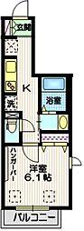 京急本線 大森町駅 徒歩15分の賃貸マンション 3階1Kの間取り