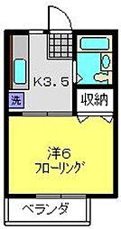 神奈川県川崎市中原区上丸子山王町1丁目の賃貸アパートの間取り