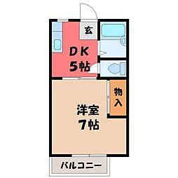 栃木県宇都宮市清原台4丁目の賃貸アパートの間取り