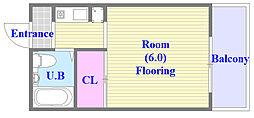 レスポワール 5階ワンルームの間取り