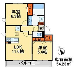 JR総武線 稲毛駅 徒歩20分の賃貸アパート 1階2LDKの間取り