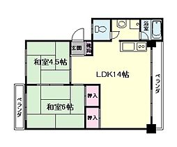 大阪府豊中市南桜塚2丁目の賃貸マンションの間取り