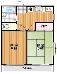 ハイツYOKO 3階2DKの間取り