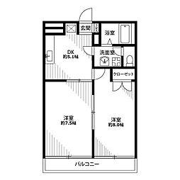 埼玉県草加市青柳8の賃貸アパートの間取り