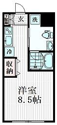 Ferio南千束 2階ワンルームの間取り