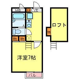 兵庫県伊丹市北伊丹4丁目の賃貸アパートの間取り