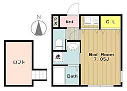 Maple(メイプル)East&West[W201号室]の間取り