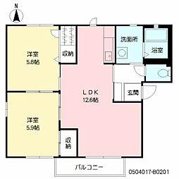エスポワールKM B棟 2階2LDKの間取り