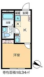 m-station 2階1Kの間取り