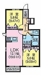 ファミーユ中山II 1階2LDKの間取り