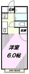 東京都八王子市明神町3丁目の賃貸アパートの間取り