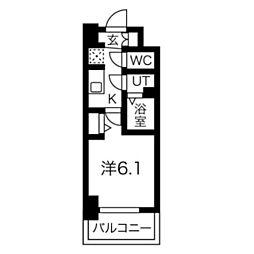 スプランディッド天王寺DUE 6階1Kの間取り