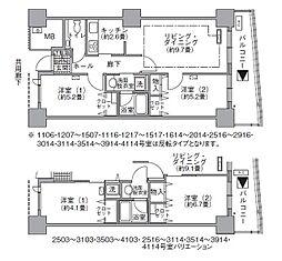 JR山手線 浜松町駅 徒歩3分の賃貸マンション 41階2LDKの間取り