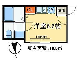 JR常磐線 松戸駅 徒歩13分の賃貸アパート 2階ワンルームの間取り