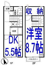 [テラスハウス] 栃木県小山市西城南3丁目 の賃貸【/】の間取り