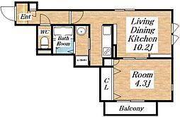 RAFTEL(ラフテル)西邸[2階]の間取り