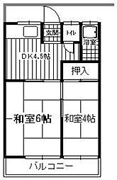 北原アパート[202号室]の間取り
