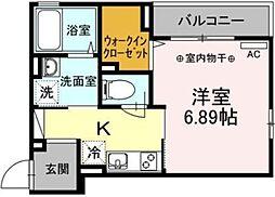 ルミエールIII 2階1Kの間取り
