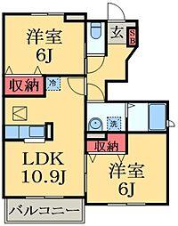 千葉県市原市松ケ島の賃貸アパートの間取り