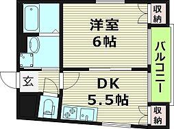 メゾン・ド・リベルテ3 3階1DKの間取り