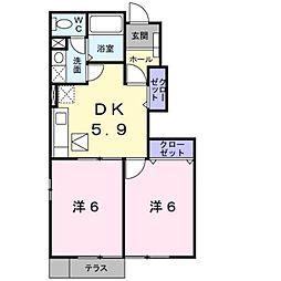 神奈川県綾瀬市早川城山3の賃貸アパートの間取り