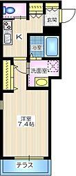 横浜市営地下鉄ブルーライン 三ツ沢下町駅 徒歩3分の賃貸マンション 2階1Kの間取り