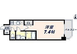 JR大阪環状線 寺田町駅 徒歩8分の賃貸マンション 10階1Kの間取り