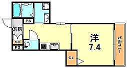阪神本線 杭瀬駅 徒歩10分の賃貸マンション 1階1Kの間取り