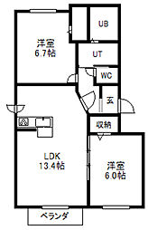 北海道札幌市中央区南二十四条西9丁目の賃貸マンションの間取り