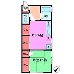 ニュー小村井荘[201号室]の間取り